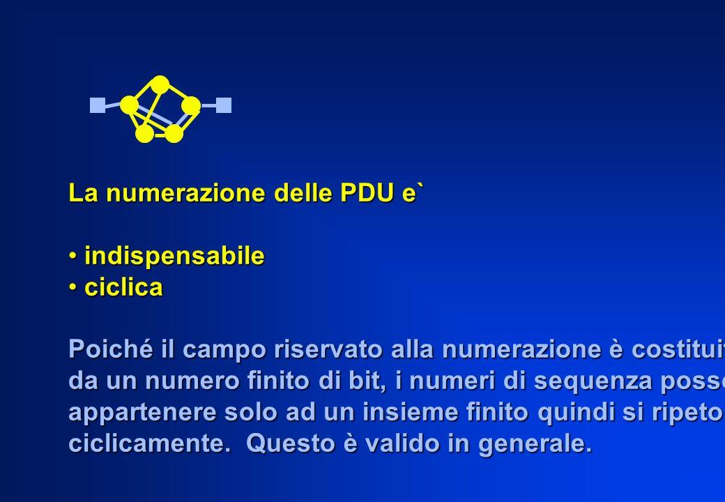 La numerazione delle PDU e` indispensabile indispensabile ciclica ciclica Poiché il campo riservato alla numerazione è costituito da un numero finito