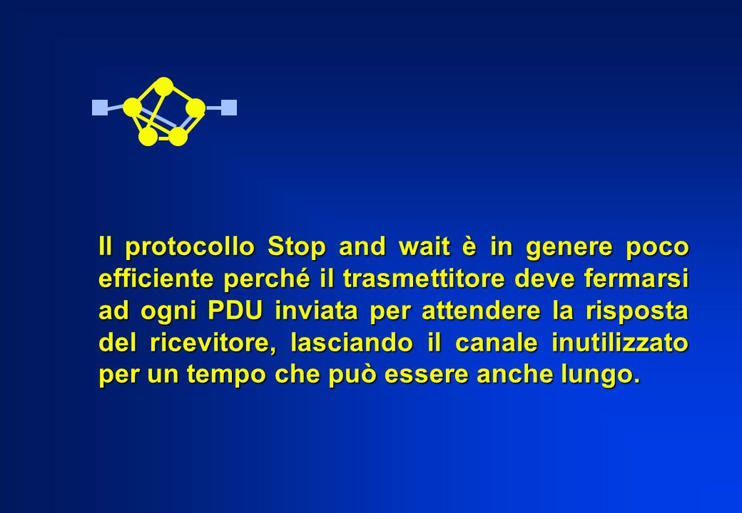 Il protocollo Stop and wait è in genere poco efficiente perché il trasmettitore deve fermarsi ad ogni PDU inviata per attendere la risposta del ricevi