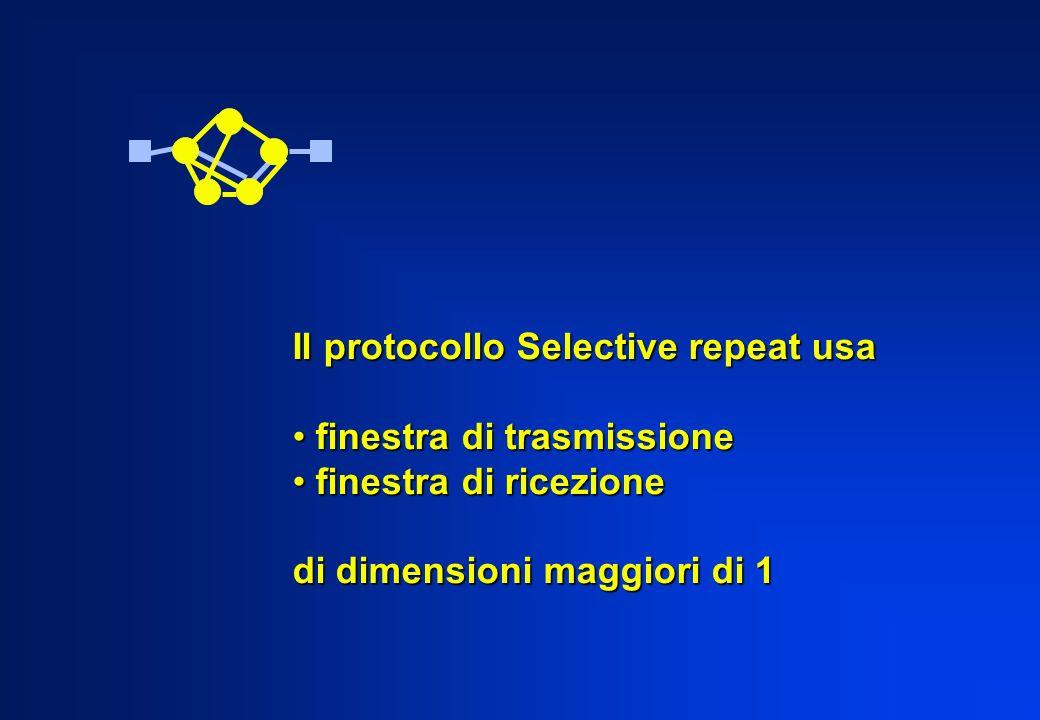 Il protocollo Selective repeat usa finestra di trasmissione finestra di trasmissione finestra di ricezione finestra di ricezione di dimensioni maggior