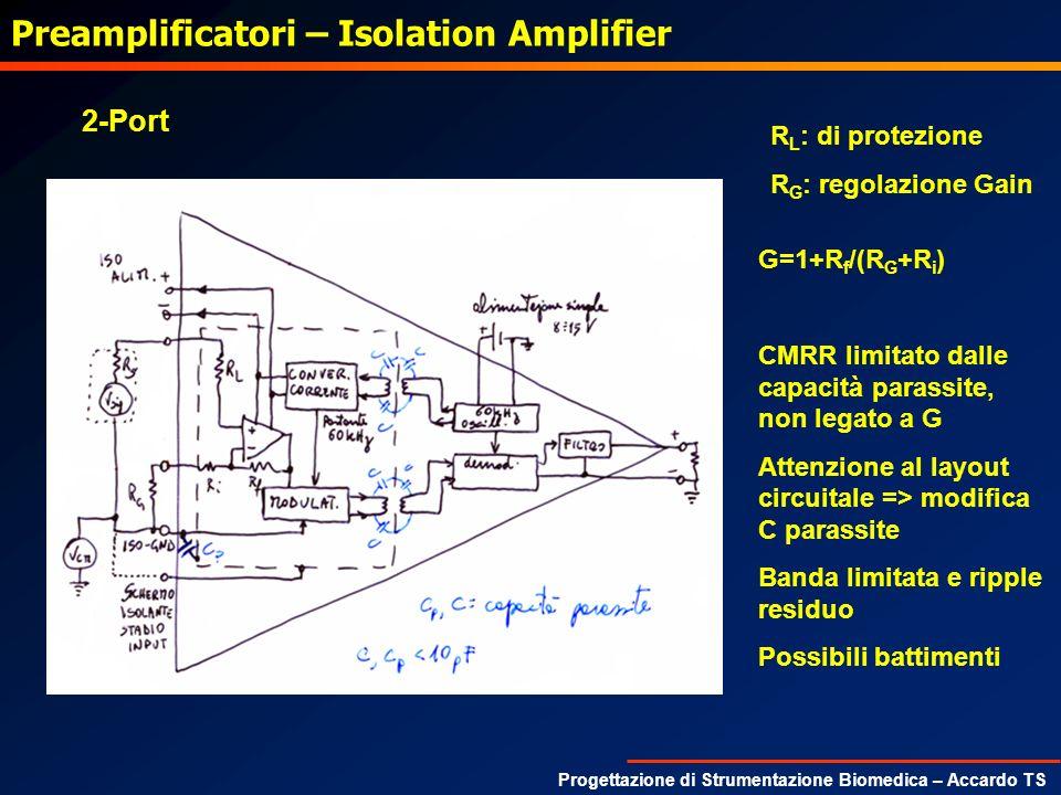 Progettazione di Strumentazione Biomedica – Accardo TS Preamplificatori – Isolation Amplifier R L : di protezione R G : regolazione Gain G=1+R f /(R G