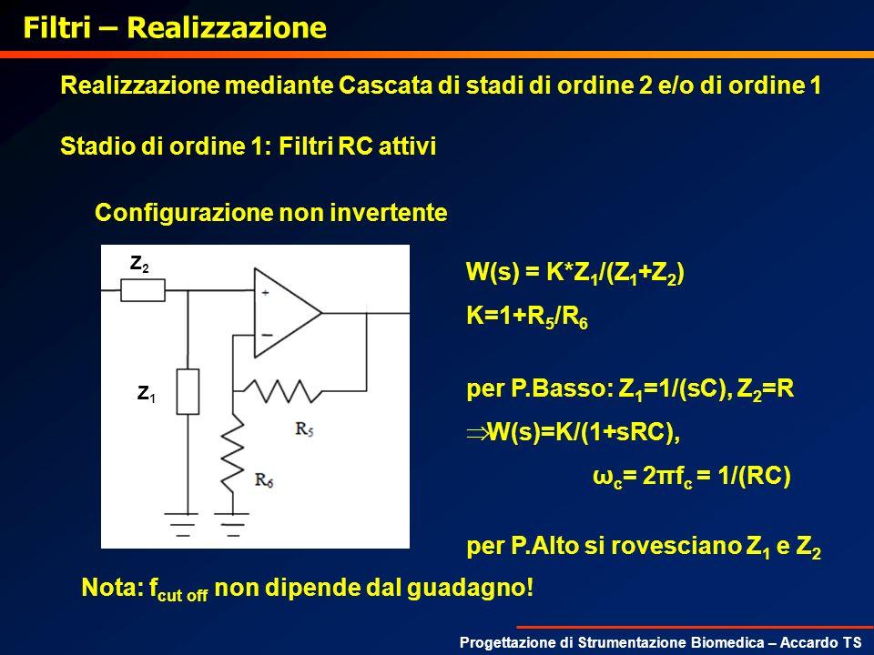 Progettazione di Strumentazione Biomedica – Accardo TS Filtri – Realizzazione Realizzazione mediante Cascata di stadi di ordine 2 e/o di ordine 1 Stad