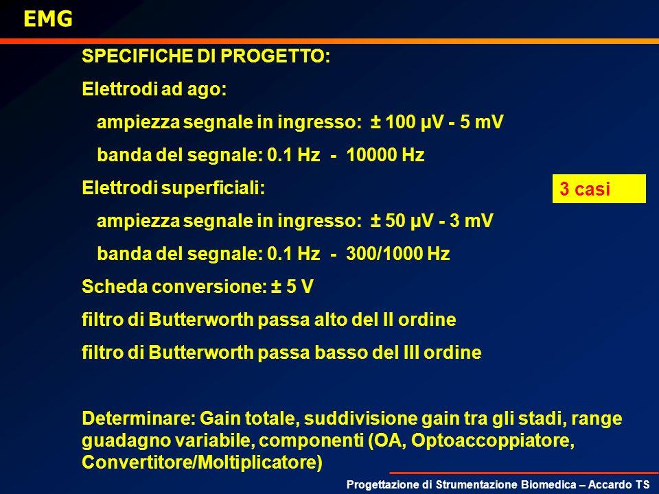 Progettazione di Strumentazione Biomedica – Accardo TS EMG SPECIFICHE DI PROGETTO: Elettrodi ad ago: ampiezza segnale in ingresso: ± 100 µV - 5 mV ban