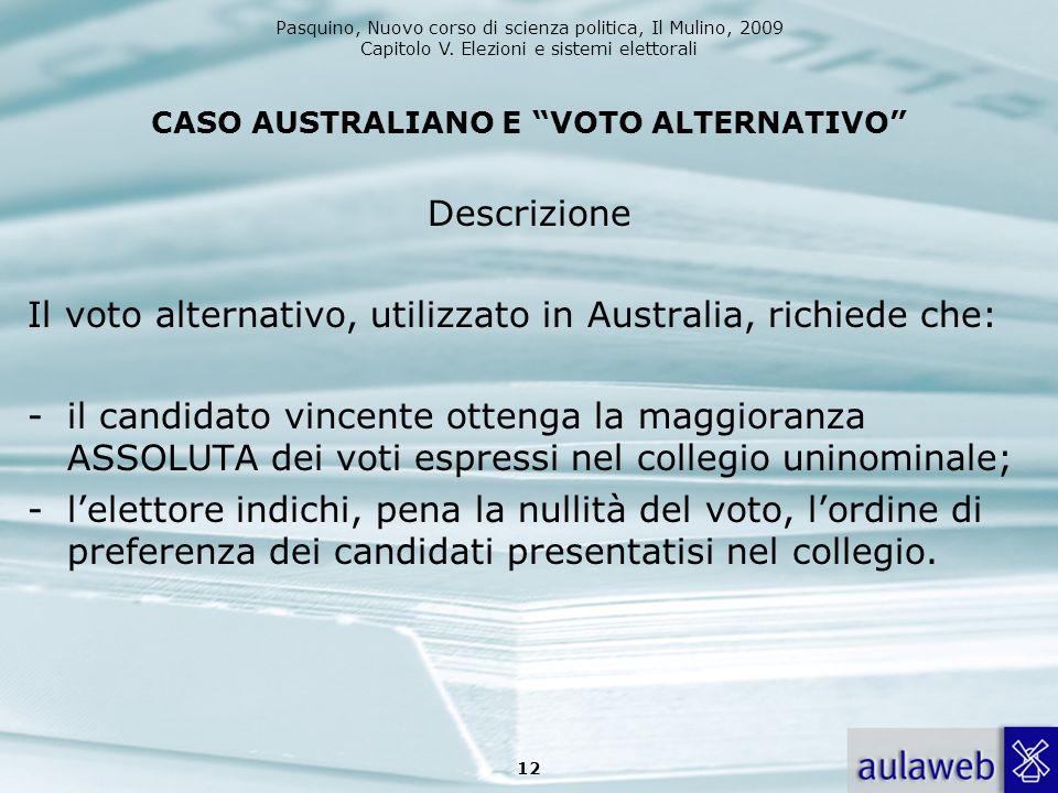 Pasquino, Nuovo corso di scienza politica, Il Mulino, 2009 Capitolo V. Elezioni e sistemi elettorali CASO AUSTRALIANO E VOTO ALTERNATIVO Descrizione I