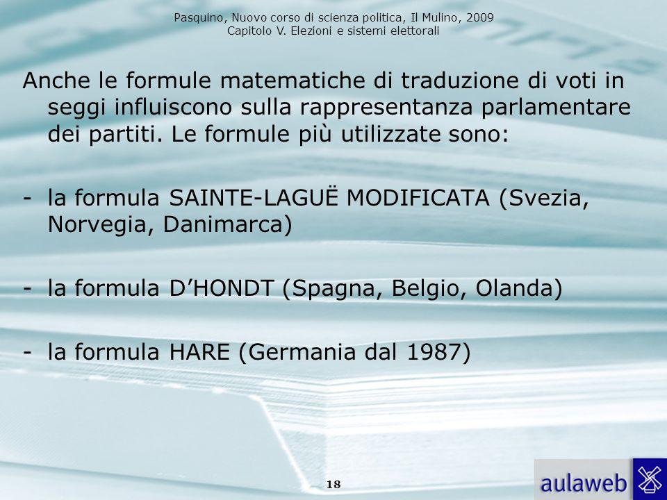 Pasquino, Nuovo corso di scienza politica, Il Mulino, 2009 Capitolo V. Elezioni e sistemi elettorali Anche le formule matematiche di traduzione di vot