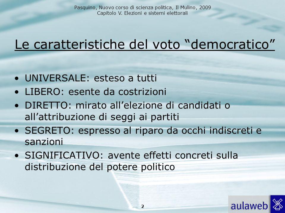 Pasquino, Nuovo corso di scienza politica, Il Mulino, 2009 Capitolo V. Elezioni e sistemi elettorali Le caratteristiche del voto democratico UNIVERSAL