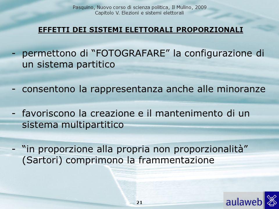 Pasquino, Nuovo corso di scienza politica, Il Mulino, 2009 Capitolo V. Elezioni e sistemi elettorali EFFETTI DEI SISTEMI ELETTORALI PROPORZIONALI -per