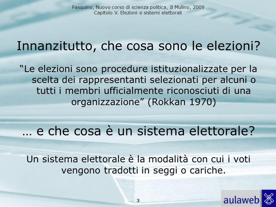 Pasquino, Nuovo corso di scienza politica, Il Mulino, 2009 Capitolo V. Elezioni e sistemi elettorali Innanzitutto, che cosa sono le elezioni? Le elezi