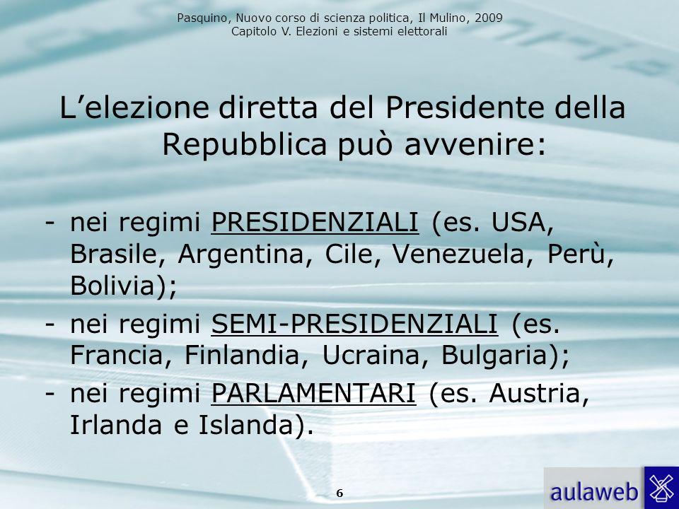 Pasquino, Nuovo corso di scienza politica, Il Mulino, 2009 Capitolo V. Elezioni e sistemi elettorali Lelezione diretta del Presidente della Repubblica