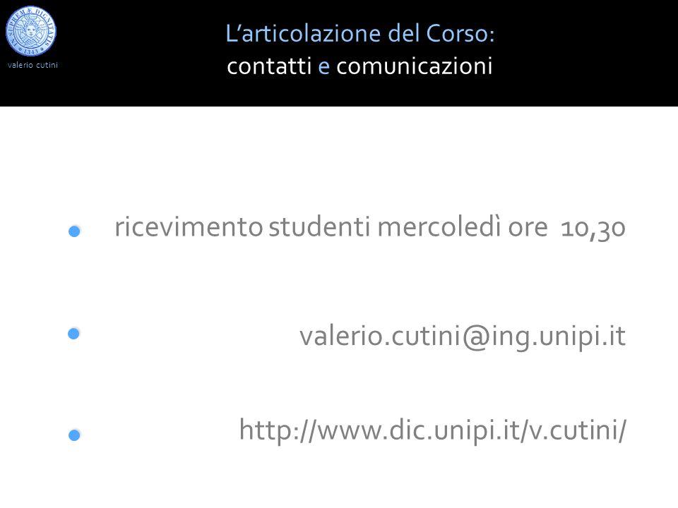 http://www.dic.unipi.it/v.cutini/ valerio.cutini@ing.unipi.it valerio cutini Larticolazione del Corso: contatti e comunicazioni ricevimento studenti m