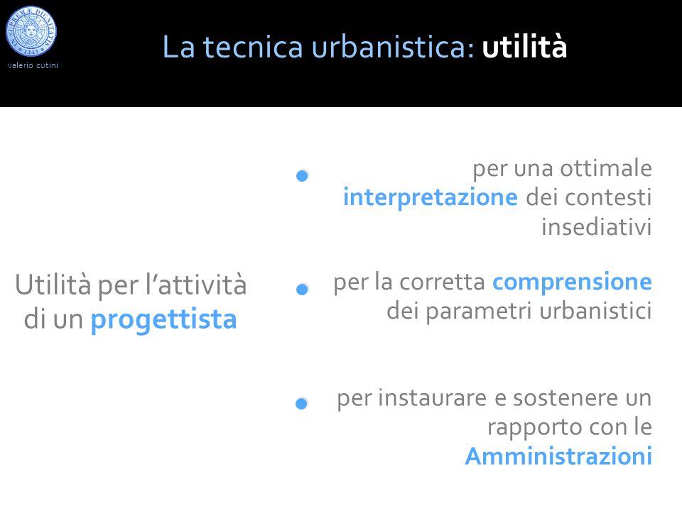 La tecnica urbanistica: utilità Utilità per lattività di un progettista per una ottimale interpretazione dei contesti insediativi per la corretta comprensione dei parametri urbanistici per instaurare e sostenere un rapporto con le Amministrazioni valerio cutini