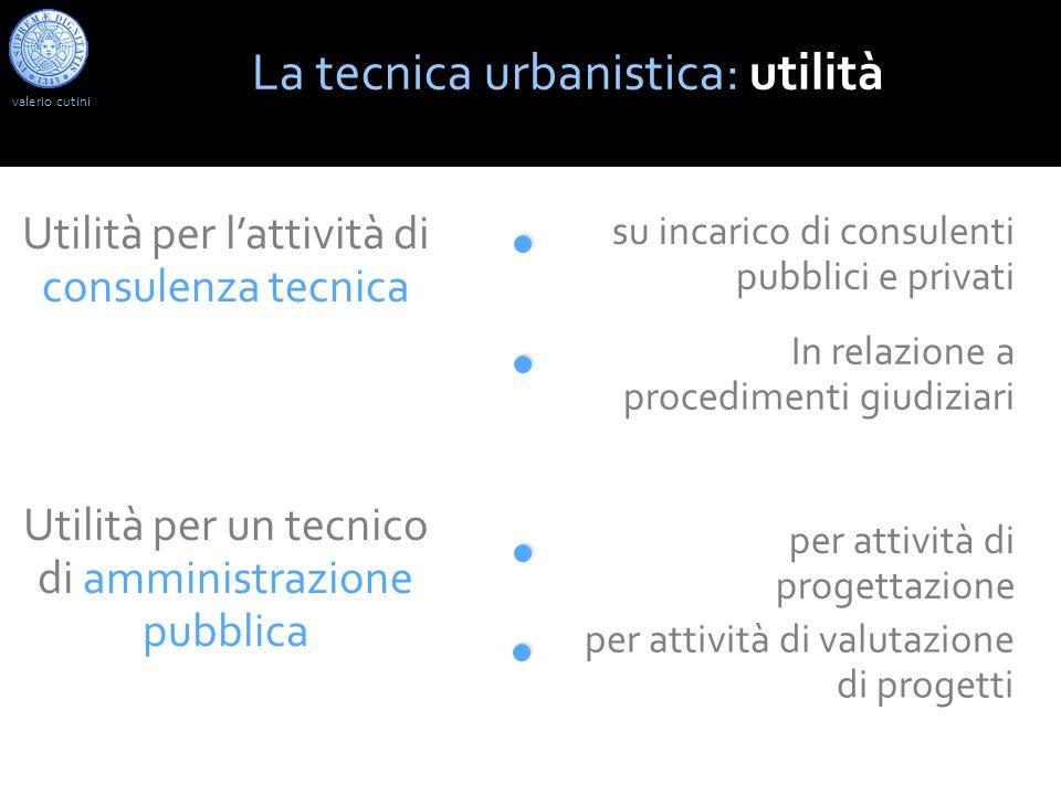 La tecnica urbanistica: utilità Utilità per lattività di consulenza tecnica su incarico di consulenti pubblici e privati In relazione a procedimenti g