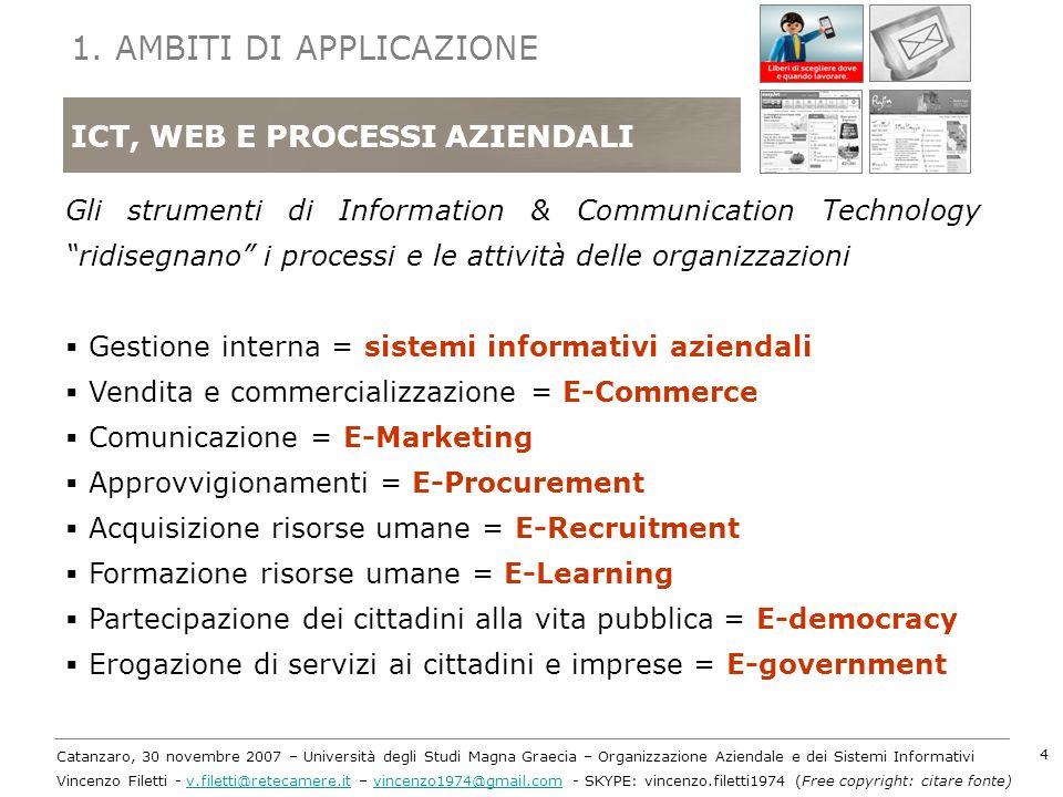 Catanzaro, 30 novembre 2007 – Università degli Studi Magna Graecia – Organizzazione Aziendale e dei Sistemi Informativi Vincenzo Filetti - v.filetti@r