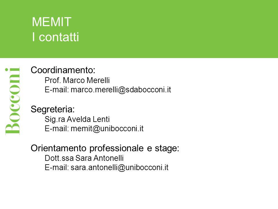 MEMIT I contatti Coordinamento: Prof. Marco Merelli E-mail: marco.merelli@sdabocconi.it Segreteria: Sig.ra Avelda Lenti E-mail: memit@unibocconi.it Or