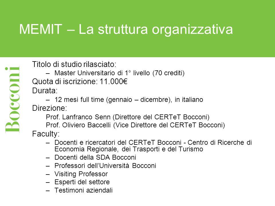 MEMIT – La struttura organizzativa Titolo di studio rilasciato: –Master Universitario di 1° livello (70 crediti) Quota di iscrizione: 11.000 Durata: –