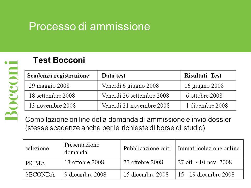 Processo di ammissione Test Bocconi Scadenza registrazione Data test Risultati Test 29 maggio 2008 Venerdì 6 giugno 2008 16 giugno 2008 18 settembre 2