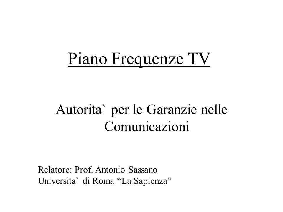 Piano Frequenze TV Autorita` per le Garanzie nelle Comunicazioni Relatore: Prof. Antonio Sassano Universita` di Roma La Sapienza