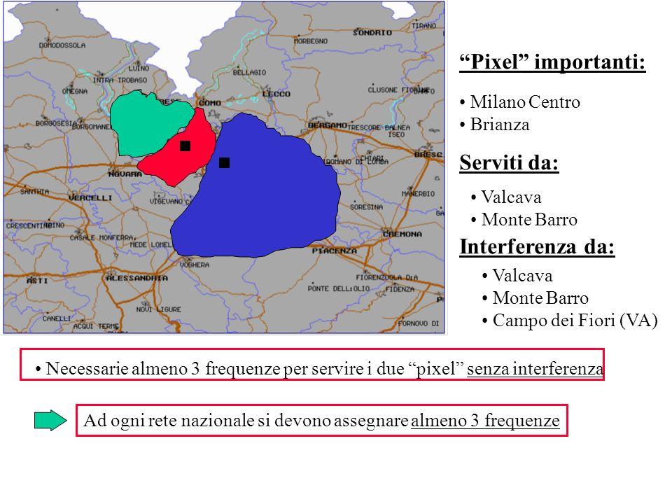 Pixel importanti: Milano Centro Brianza Serviti da: Valcava Monte Barro Interferenza da: Valcava Monte Barro Campo dei Fiori (VA) Necessarie almeno 3