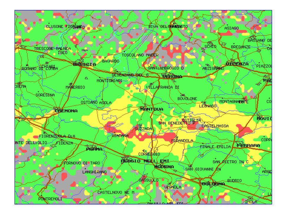 VERIFICA - Servizio Locale (N=3) I trasmettitori servono esclusivamente pixel appartenenti al loro bacino (trasmissione contemporanea di 487 programmi locali) BANDA V Q3 - 3% Popolazione - 92% Q4-Q5 - 89%