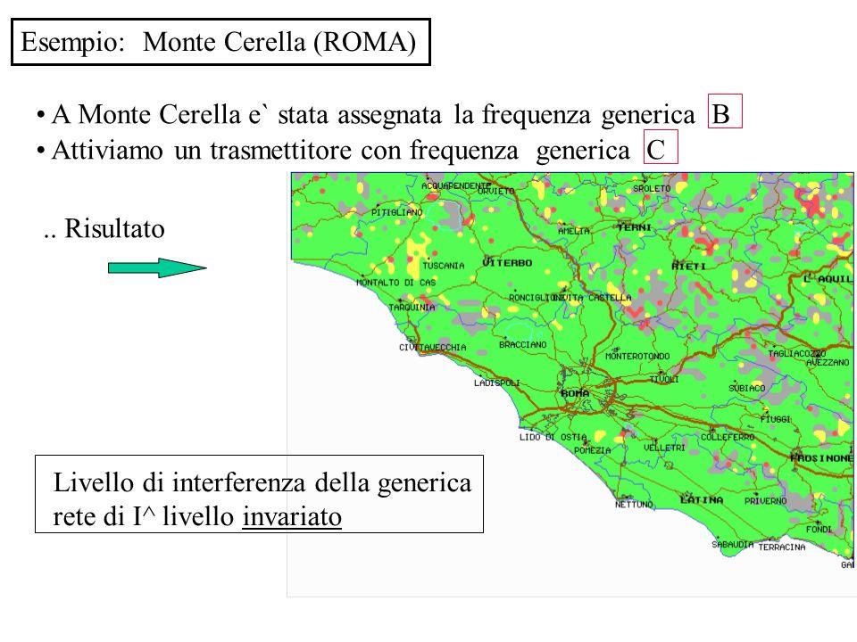 Esempio: Monte Cerella (ROMA) A Monte Cerella e` stata assegnata la frequenza generica B Attiviamo un trasmettitore con frequenza generica C.. Risulta