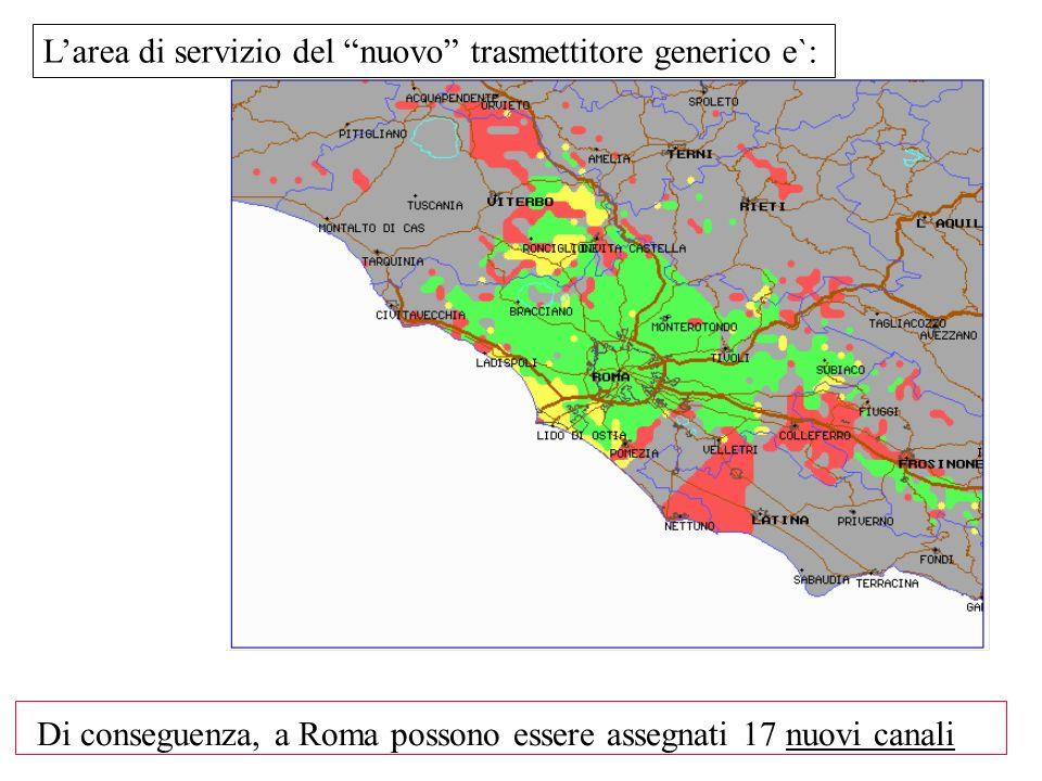 Larea di servizio del nuovo trasmettitore generico e`: Di conseguenza, a Roma possono essere assegnati 17 nuovi canali