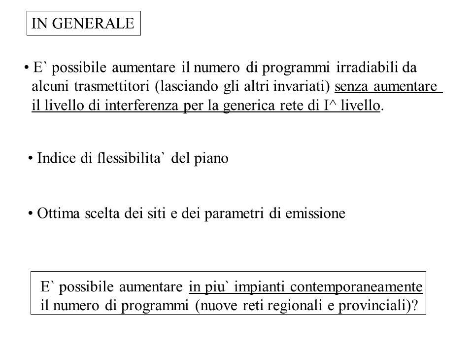 E` possibile aumentare il numero di programmi irradiabili da alcuni trasmettitori (lasciando gli altri invariati) senza aumentare il livello di interf