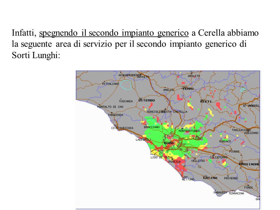 Infatti, spegnendo il secondo impianto generico a Cerella abbiamo la seguente area di servizio per il secondo impianto generico di Sorti Lunghi: