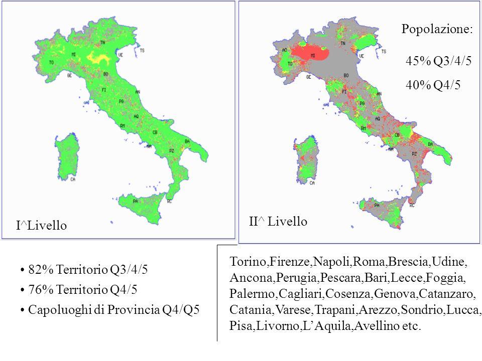 II^ Livello Popolazione: 45% Q3/4/5 40% Q4/5 Torino,Firenze,Napoli,Roma,Brescia,Udine, Ancona,Perugia,Pescara,Bari,Lecce,Foggia, Palermo,Cagliari,Cose