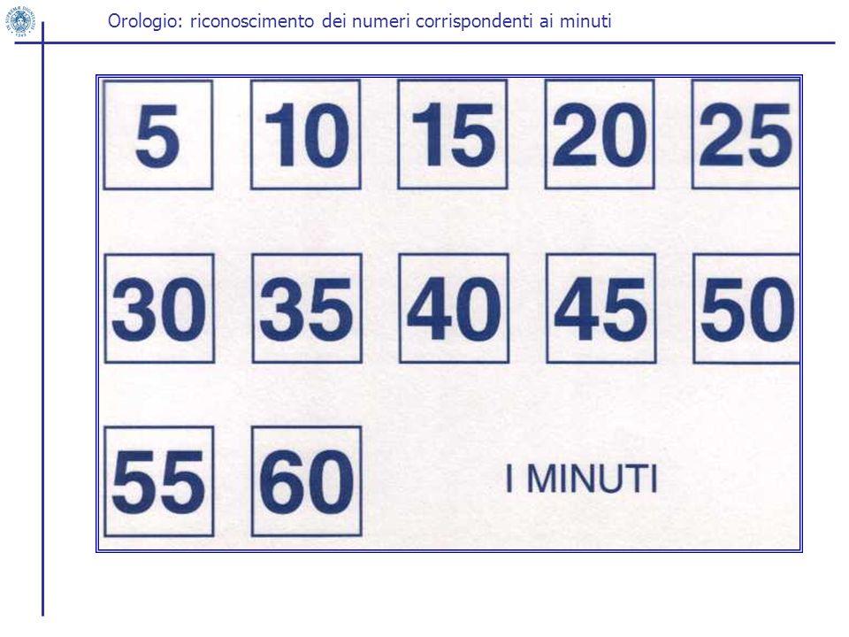 Orologio: riconoscimento dei numeri corrispondenti ai minuti