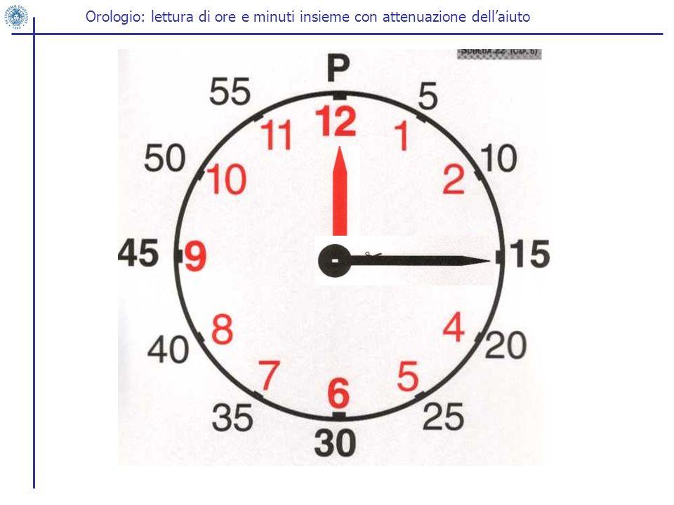 Orologio: lettura di ore e minuti insieme con attenuazione dellaiuto