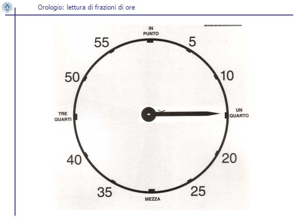 Orologio: lettura di frazioni di ore