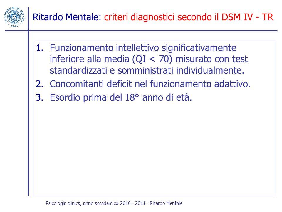 Ritardo Mentale: criteri diagnostici secondo il DSM IV - TR 1.Funzionamento intellettivo significativamente inferiore alla media (QI < 70) misurato co