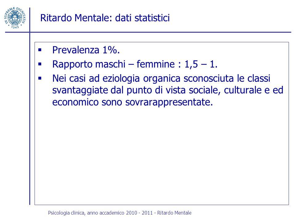 Ritardo Mentale: dati statistici Prevalenza 1%. Rapporto maschi – femmine : 1,5 – 1. Nei casi ad eziologia organica sconosciuta le classi svantaggiate