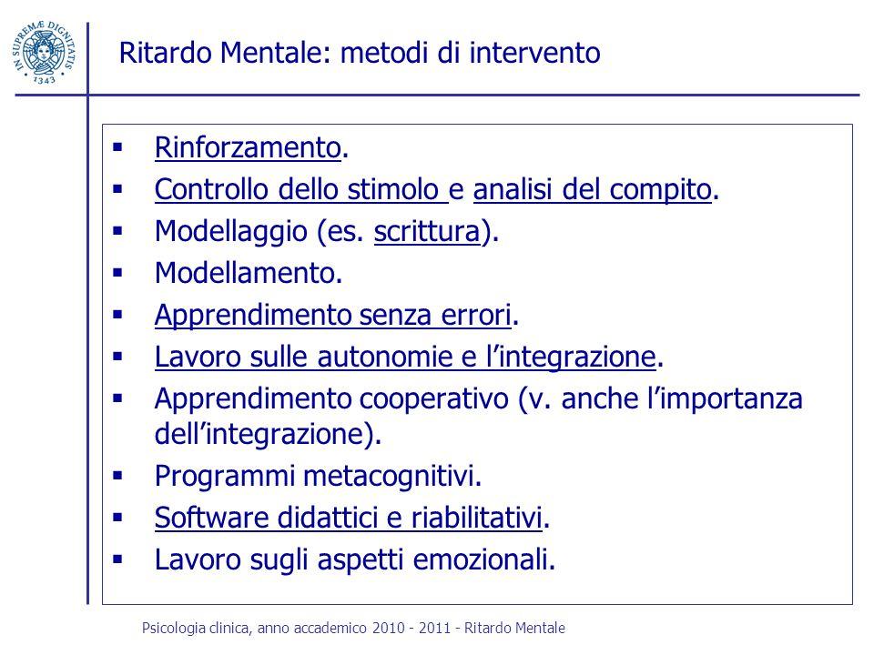 Ritardo Mentale: metodi di intervento Rinforzamento. Rinforzamento Controllo dello stimolo e analisi del compito. Controllo dello stimolo analisi del