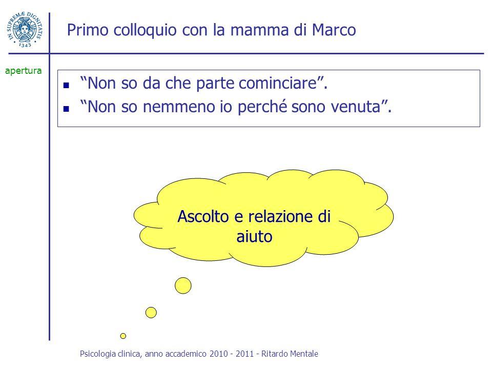 Primo colloquio con la mamma di Marco Marco e i mille problemi, da sempre.