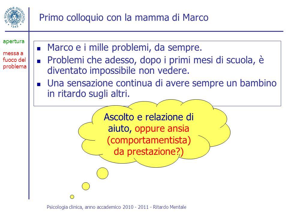 Primo colloquio con la mamma di Marco Marco e i mille problemi, da sempre. Problemi che adesso, dopo i primi mesi di scuola, è diventato impossibile n
