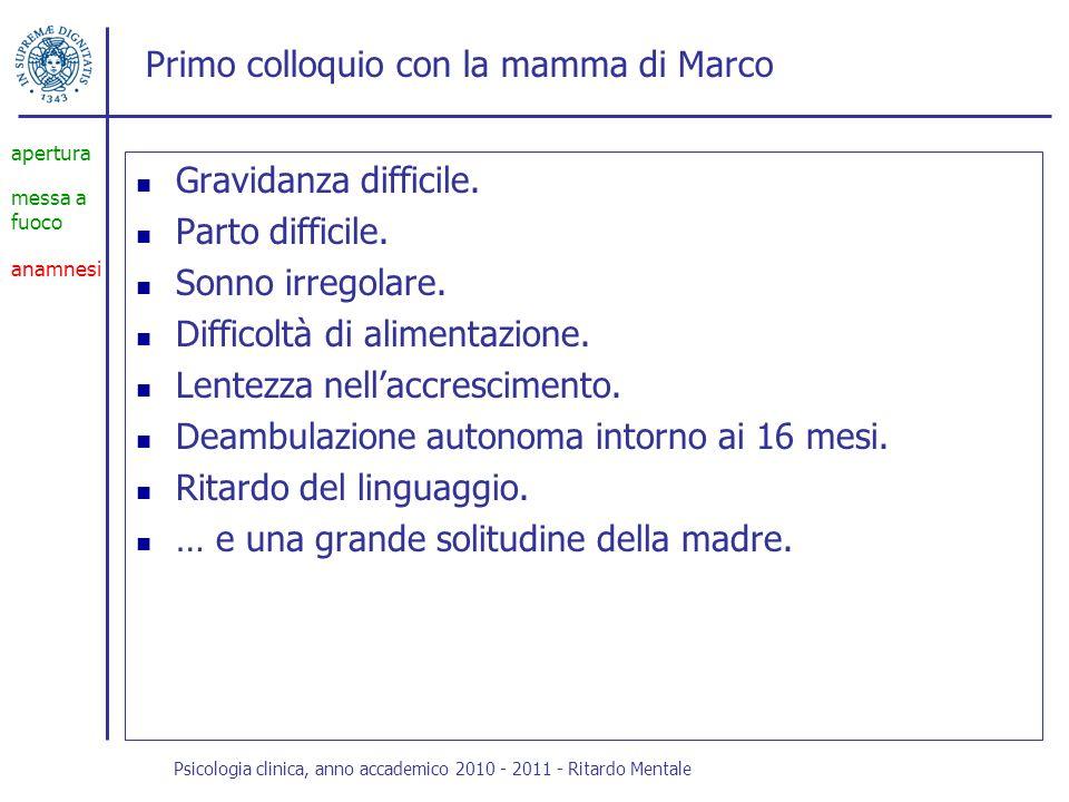 Primo colloquio con la mamma di Marco Il confronto perdente con i coetanei.