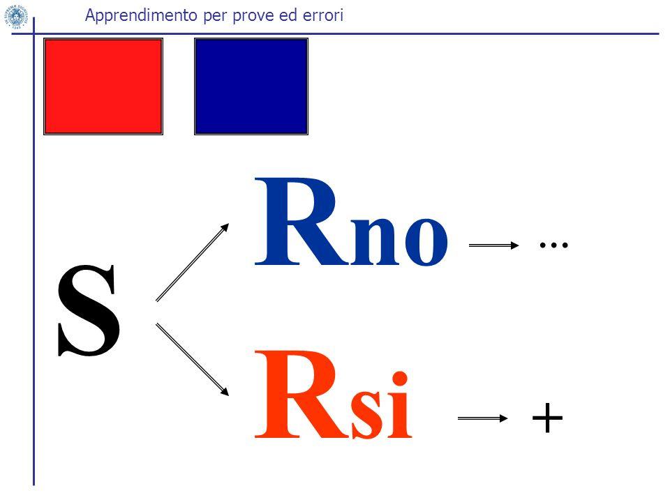 S R no R si … + Apprendimento per prove ed errori