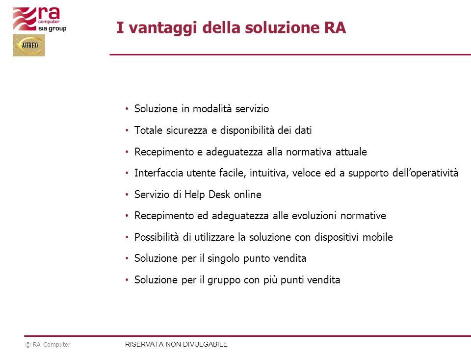 © RA Computer Soluzione in modalità servizio Totale sicurezza e disponibilità dei dati Recepimento e adeguatezza alla normativa attuale Interfaccia ut