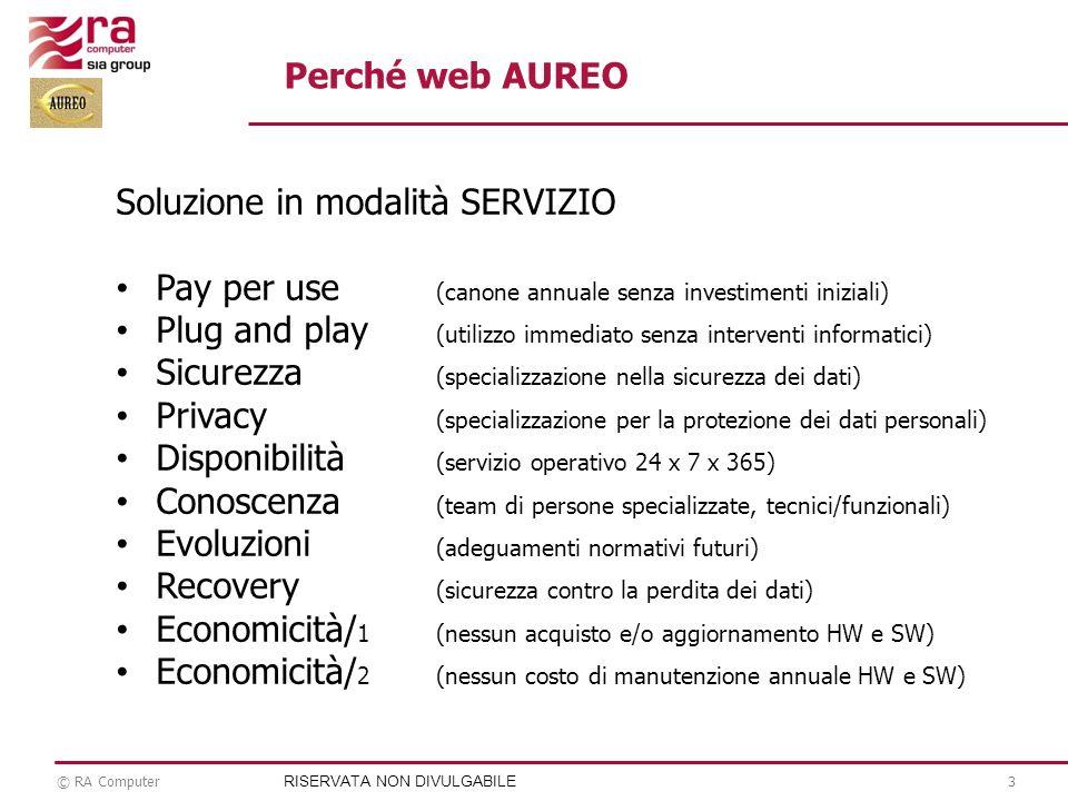 © RA Computer3 Soluzione in modalità SERVIZIO Pay per use (canone annuale senza investimenti iniziali) Plug and play (utilizzo immediato senza interve