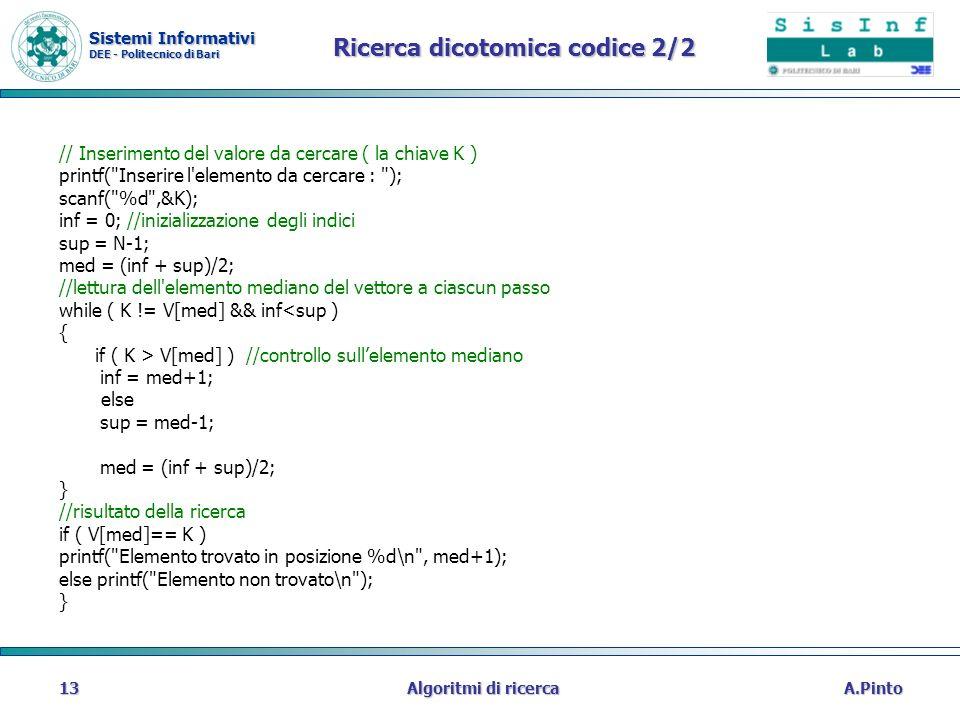 Sistemi Informativi DEE - Politecnico di Bari A.PintoAlgoritmi di ricerca13 Ricerca dicotomica codice 2/2 // Inserimento del valore da cercare ( la ch