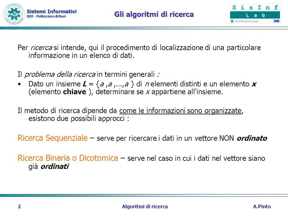 Sistemi Informativi DEE - Politecnico di Bari A.PintoAlgoritmi di ricerca2 Gli algoritmi di ricerca Per ricerca si intende, qui il procedimento di loc