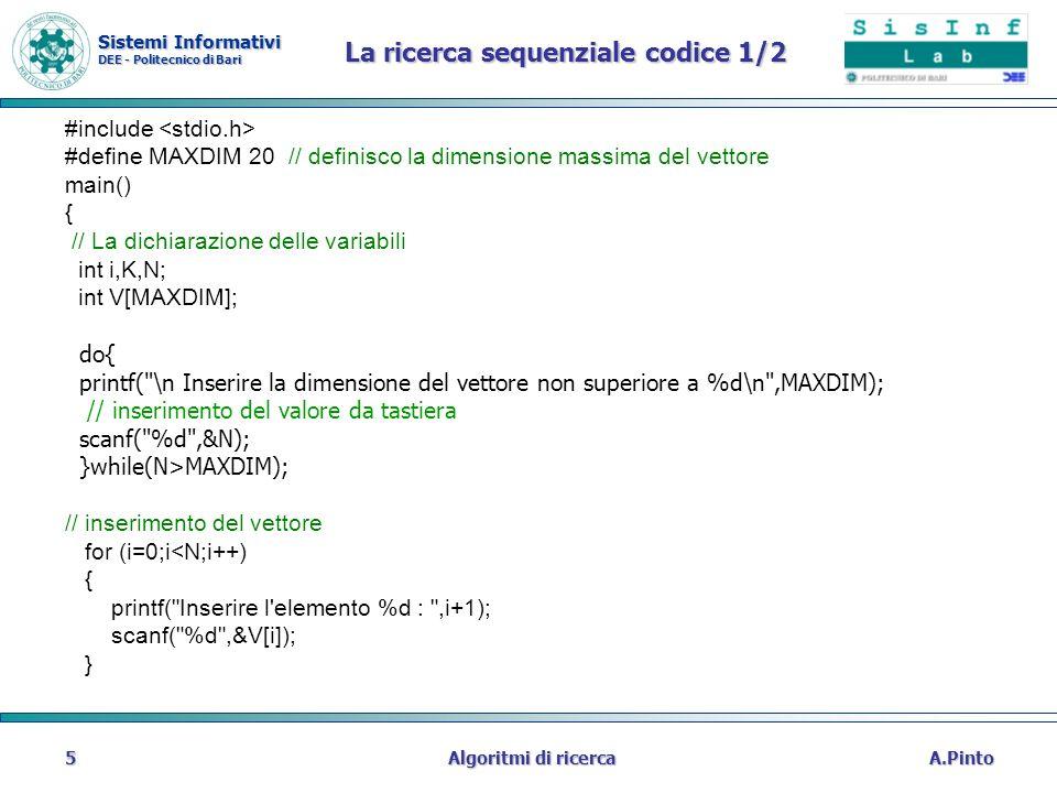 Sistemi Informativi DEE - Politecnico di Bari A.PintoAlgoritmi di ricerca5 La ricerca sequenziale codice 1/2 #include #define MAXDIM 20 // definisco l