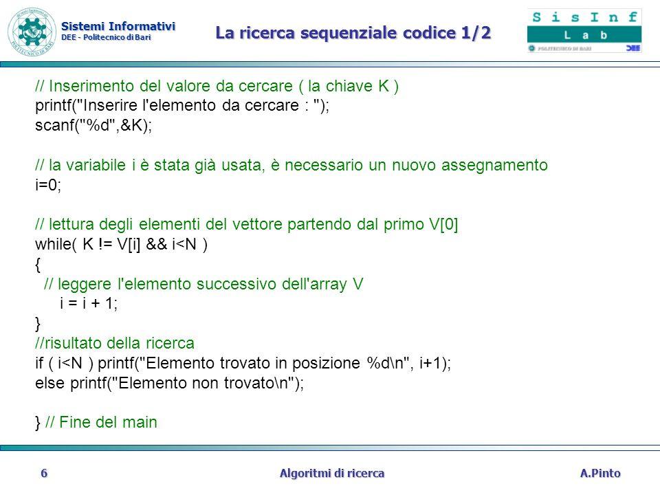 Sistemi Informativi DEE - Politecnico di Bari A.PintoAlgoritmi di ricerca6 La ricerca sequenziale codice 1/2 // Inserimento del valore da cercare ( la
