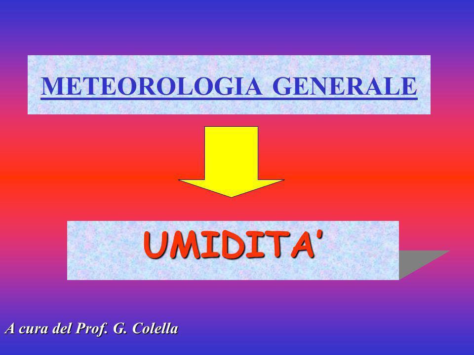 METEOROLOGIA GENERALE UMIDITA A cura del Prof. G. Colella