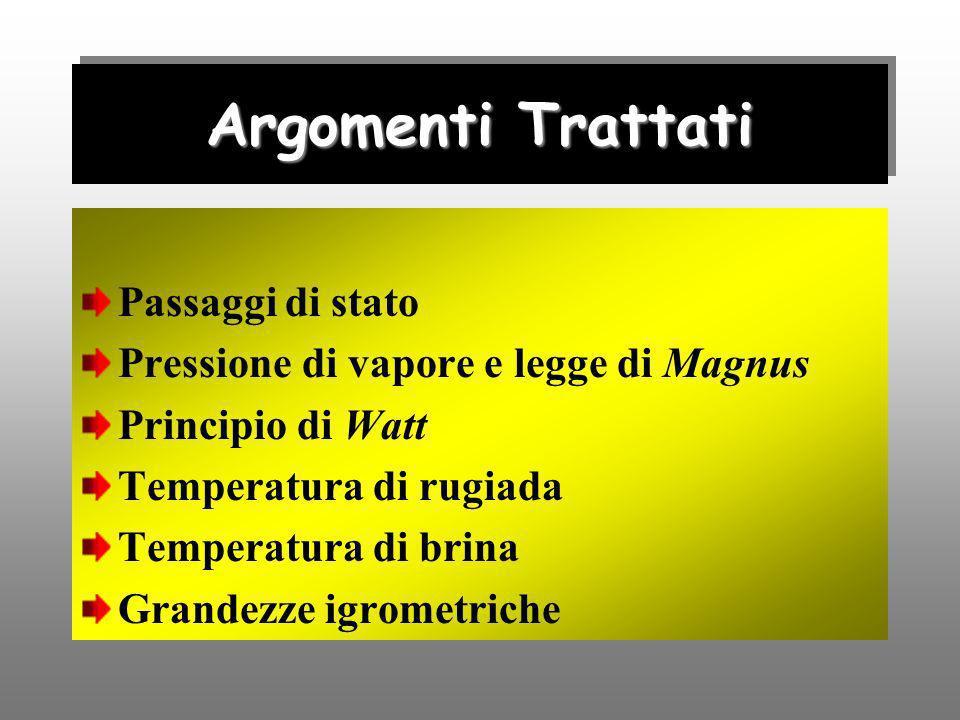 Argomenti Trattati Passaggi di stato Pressione di vapore e legge di Magnus Principio di Watt Temperatura di rugiada Temperatura di brina Grandezze igr