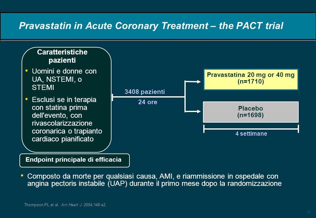 10 Pravastatin in Acute Coronary Treatment – the PACT trial 3408 pazienti 24 ore Uomini e donne con UA, NSTEMI, o STEMI Esclusi se in terapia con stat
