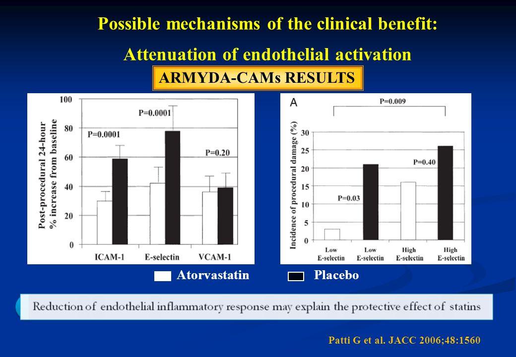 ARMYDA-CAMs RESULTS Atorvastatin Placebo Post-procedural 24-hour % increase from baseline Patti G et al. JACC 2006;48:1560 Possible mechanisms of the