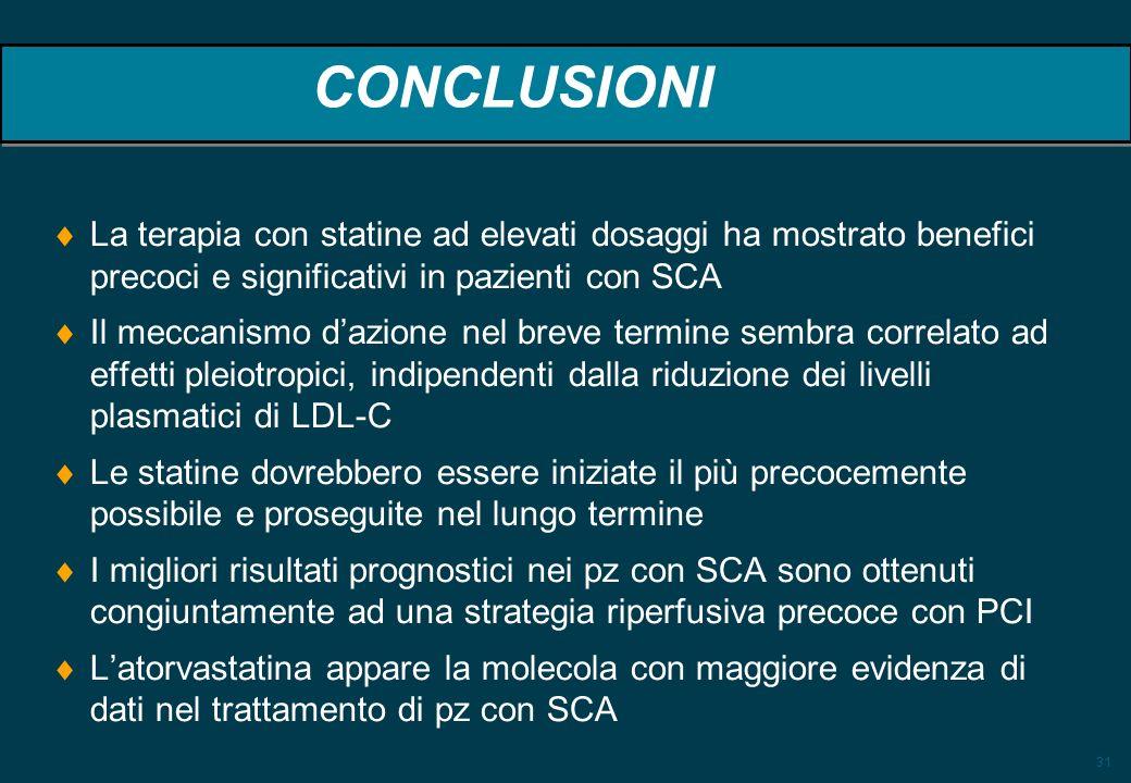 31 CONCLUSIONI La terapia con statine ad elevati dosaggi ha mostrato benefici precoci e significativi in pazienti con SCA Il meccanismo dazione nel br