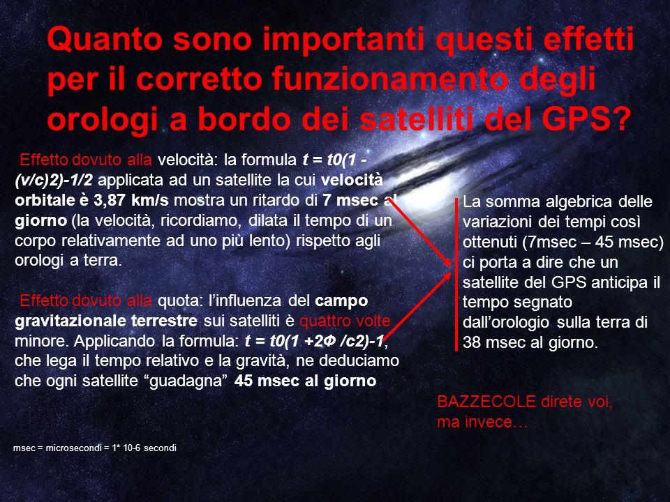 Quanto sono importanti questi effetti per il corretto funzionamento degli orologi a bordo dei satelliti del GPS? Effetto dovuto alla velocità: la form