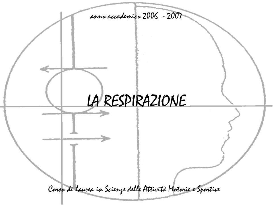 LA RESPIRAZIONE anno accademico 2006 - 2007 Corso di laurea in Scienze delle Attività Motorie e Sportive